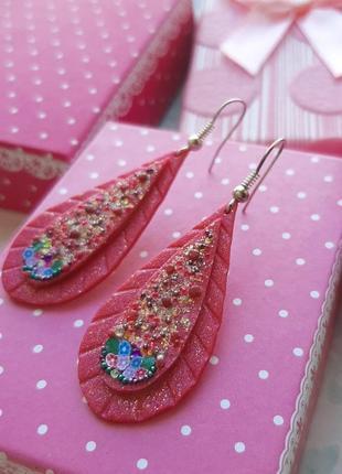 Серьги ручн раб розов цвет полимерн глина капли разноцв серёжки шиммер