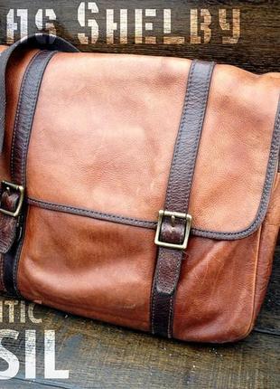 Fossil. мужская кожаная сумка. мужской кожаный портфель.