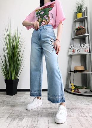 Джинсы  клеш кюлоты wide lage alpha 211 в винтажном стиле винтаж винтажные