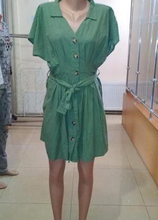 Платье на пуговицах с пояском турецкое1 фото