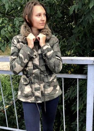 Парка h&m осень/весна мех отстёгивается куртка