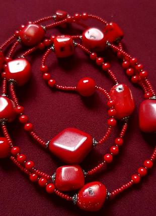 Гарнитур комплект из натурал крупн коралл бусы ожерелье шикарн браслет колье красн