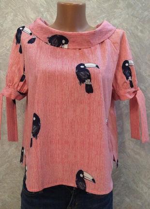 Блуза в полоску с застежкой сзади и завязками на рукавах размер 10-12 atmosphere