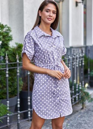 Льняное летнее серо-лиловое платье в белый горошек с пуговицами и кулиской (3903 msmd)
