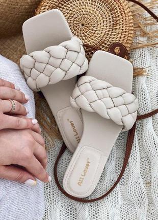 Плетеные босоножки шлепки сабо в стиле bottega, zara
