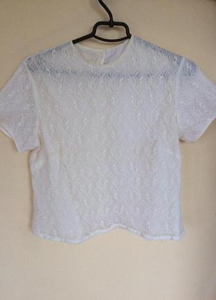 Кружевная белая футболка-блуза