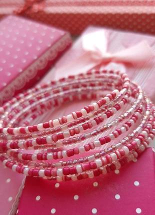 Нежный браслет мемори бисер розов проволк красив тренд ручн раб