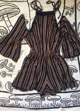Крутой винтажный ромпер - шорты комбенизон вискоза