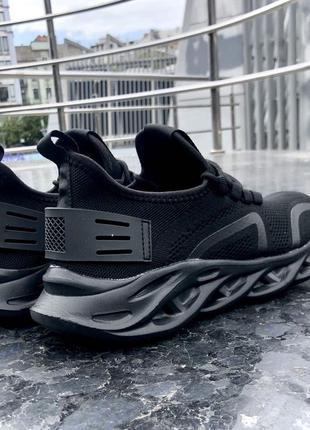 Черные ультрамодные мужские летние кроссовки