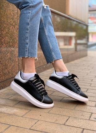 Alexander mcqueen женские кроссовки маквин черного цвета (36-40)💜