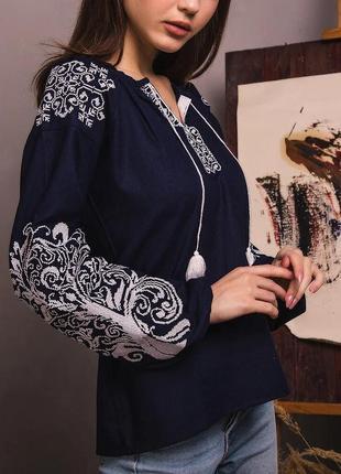 Блуза женская с вышивкой вышиванка на льне s-xxxl