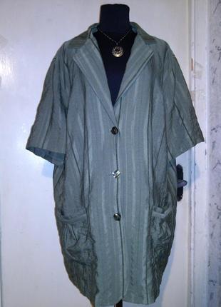 Лёгкий,хаки (фото3),жакет-пиджак-блузон с коротким рукавом и карманами,большого размера