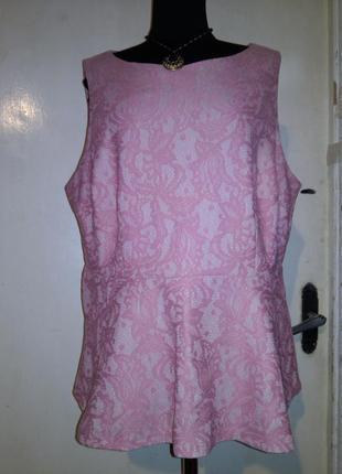Красивая,гипюровая-кружевная,розовая-пудровая блуза с баской,большого размераморокко