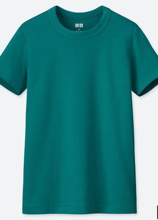 Классическая зеленая женская хлопковая футболка uniqlo u в винтажном стиле
