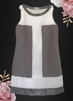 Нарядное ♥️♥️♥️ белое серое льняное платье туника promod.