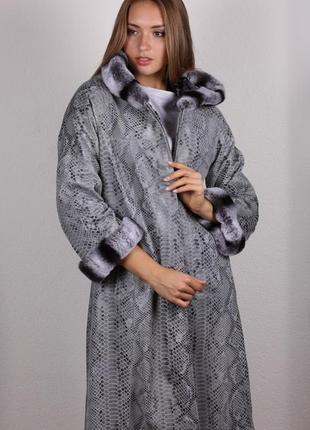 Пальто натуральная кожа с шиншилловым рексом