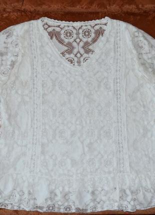 Красивая ажурная блузка, белая блузка из натуральной хлопковой ткани