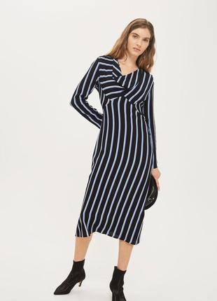 Платье миди в полоску вискозное topshop размер 10