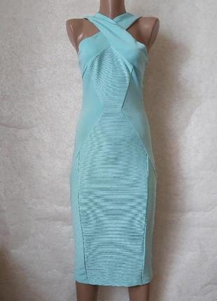 Фирменное asos с биркой шикарное платье миди в сочном мятном/бирюзе цвете, размер с-м