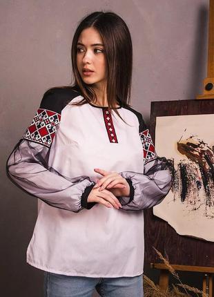 Нарядная блуза с вышивкой этно размеры от 42 до 52