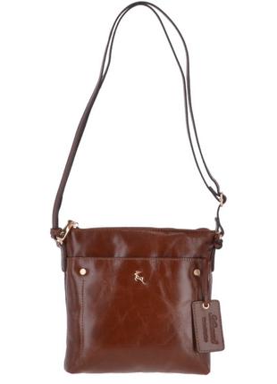 Практичная добротная кожаная сумка, натуральная кожа, коричнево рыжая ashwood