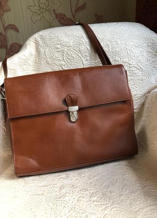 Добротный деловой портфель, кожаная сумка формат a4, натуральная кожа, рыже коричневая,