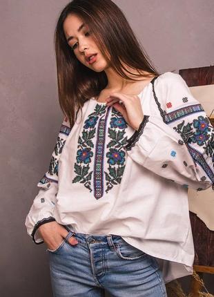 Шикарная женская блуза вышиванка вышивка на бязи