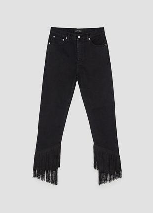 Актуальный джинсы zara с бахромой и высокой посадкой