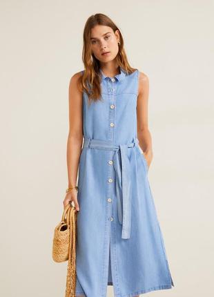 Рубашка платье mango сарафан на пуговицах платье без рукавов джинсовое платье лиоцелл
