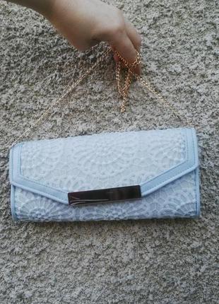 Новая сумка,клатч на золотой цепочке,ажурный,кружевной(вечерний) new look,кож.зам.