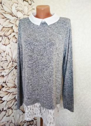Свитер с блузой-обманкой, имитация блузы. 1+1= 50% скидки на 3ю вещь