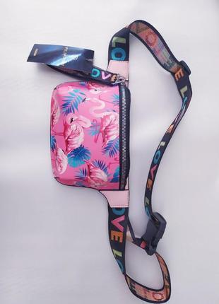 Женская сумка, сумка на пояс, фламинго