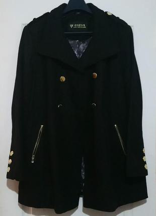 Двубортное шерстяное пальто трапеция