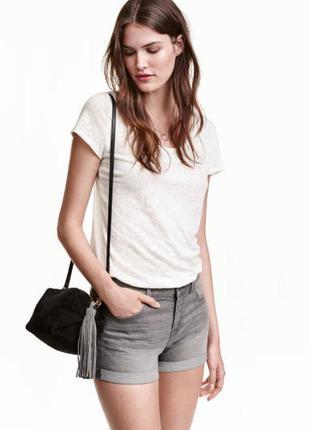 Черные шорты джинсовые н&м, м