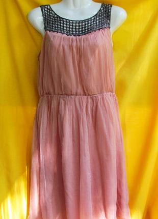 Розово-нюдовое шелковое платье, р.s