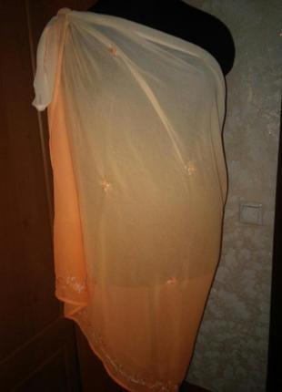 Парео 190х100 с вышивкой градиент персик