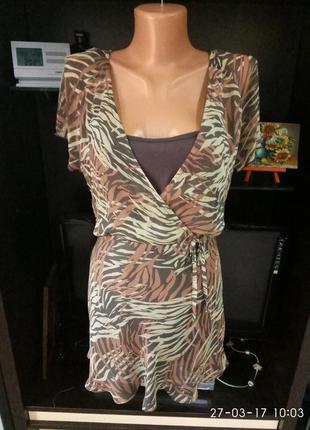 Легкая  блуза с завышенной талиеей,  с маечкой