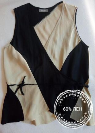 Льняная блуза на запах без рукавов wallis