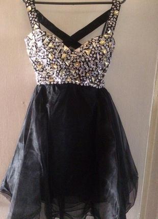 Чёрное вечернее ,выпускное платье ,корсет в камнях .