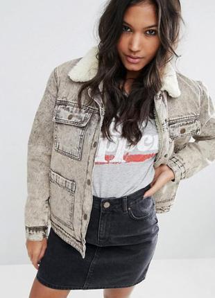 Джинсовая куртка на меховой подкладке asos