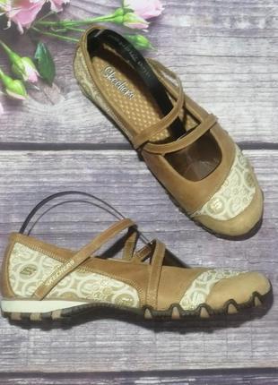 Шыкарные кожаные босоножки балетки skechers. а также puma nike adidas asics reebok