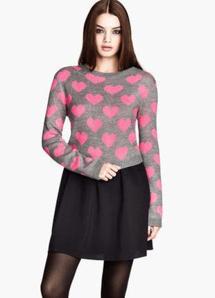 H&m стильный свитер оверсайз сердечки