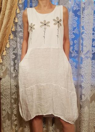 Суперроскошное льняное платье в стиле бохо италия
