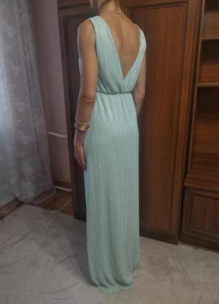 Нежное мятное платье в пол