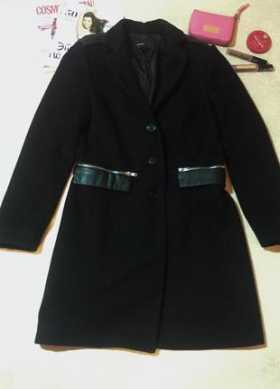 Черное классическое пальто mango