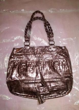 Бронзовая сумка. коричневая сумка. большая сумка.