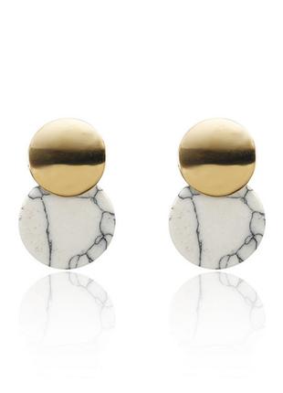 Серьги серёжки оригинальные белый мрамор новые качественные