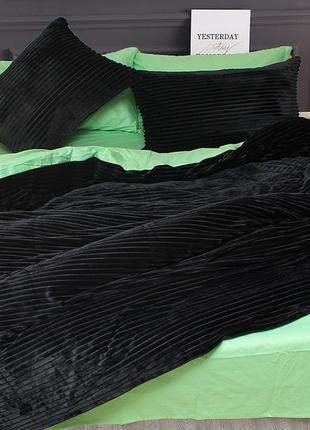 Постельное белье зима лето мятный черный сатин велсофт