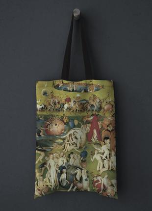 """Шопер, тканевая эко-сумка clew """"сад земных наслаждений, иеронима босха"""""""