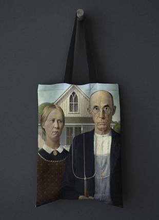 "Шопер, тканевая эко-сумка clew ""американская готика, грант вуд"""